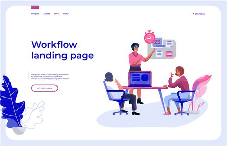 Workflow landing page. Office people team interacting with business dashboard and communicating. Vector illustrations isometric background work organization web page Иллюстрация