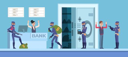 Bank robbery. Cartoon scene with criminal persons in mask and dark clothes stealing money from bank office. Vector organize rich thieves style design with cash bag Иллюстрация