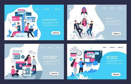 Marketing landing page. Modern SEO and online analytic concept, web sites and banners template with business characters. Vector illustrations set for cartoon website development design
