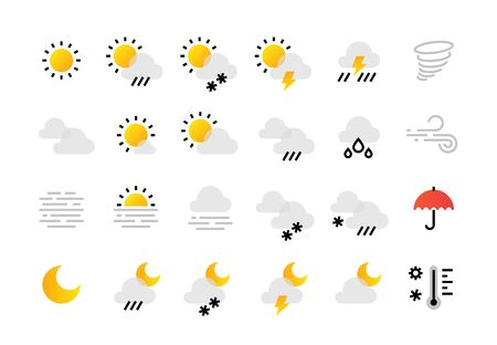 Weather line icons. Interface infographic elements with outline sun clouds rain fog wind symbols collection. Vector flat day and night weather for mobile phone and different computer gadget map