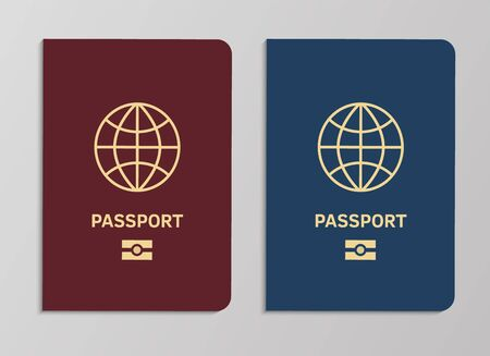 International biometric passport covers template. Blue and red international document with globe. Vector realistic travel concept tourist control for fly legal vacation