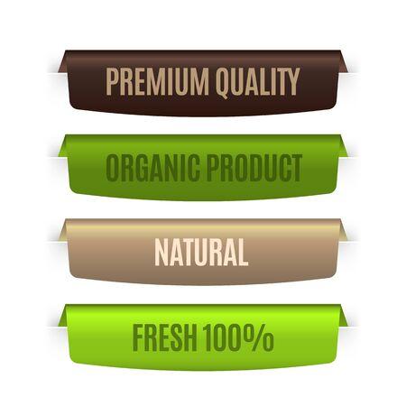 Organic natural labels. Eco banners template. Vector bio badges set for concept premium guarantee ecology product Иллюстрация