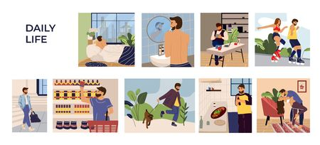 Man activities scenes. Cartoon hand drawn young man character leisure, work and routine. Vector illustration set men in home and outdoors sleeping shopping resting working walk with dog
