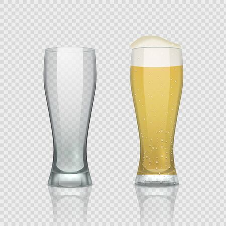 Beer glass cups. Empty transparent mug and full mug, realistic 3D beer pint. Vector tall drink glass on transparent background for restaurant menu
