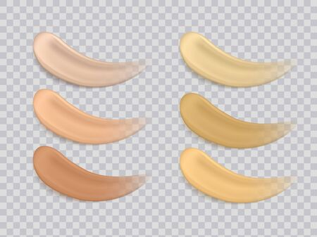 Foundation smudge. Realistic liquid foundation makeup smudges on transparent background. Vector illustration colors foundations texture make up or cosmetic cream Иллюстрация