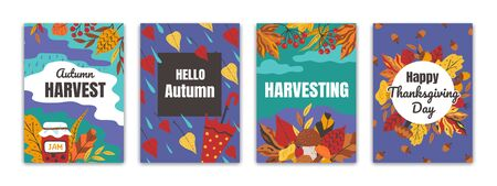 Autumn posters. Flyers and greeting cards with fall foliage for seasonal events, thanksgiving holiday banners. Vector hand drawn perfect seasonality festival card set