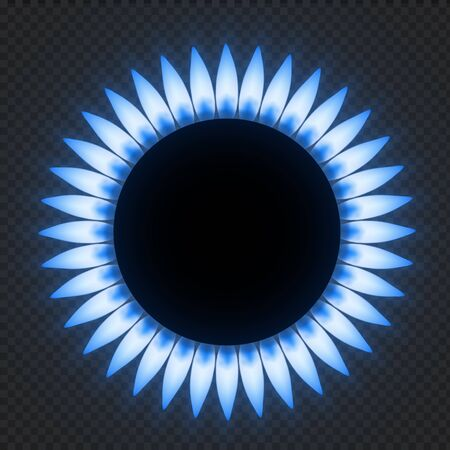 Gas stove flame. Realistic natures blue fire light effects. Vector illustrations flower burner plate flame isolated on transparent background Иллюстрация