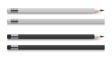 Realistic pencils with eraser. Sharpened wooden black and white colour graphite sharpened pencil. Vector illustration office stationery set