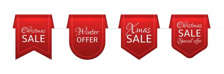 Christmas sale red ribbons. Old isolated labels with Xmas discount. Promotion retro bordure decoration. Realistic vector flags shopping design elements for sales offer Иллюстрация