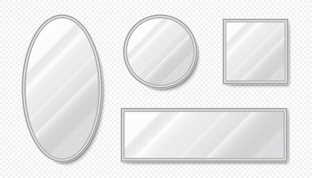 Realistic mirrors. Empty decorative oval and square mirrors with metal frames and light reflections. Vector illustration interior decoration surface reflections elements set on transparent background