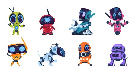 Futuristic robots. Cartoon modern AI characters of different types, set of personal assistants. Vector illustration retro game space guardian design elements or toys concept