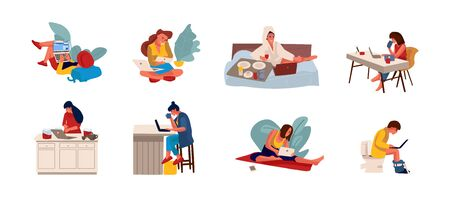 People surfing internet. Flat persons sitting on couch and holding smartphone or working with laptop. Vector illustration happy cartoon person with computers working into home
