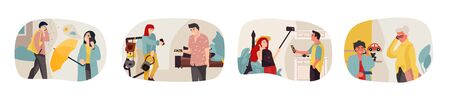People talking on phone. Cartoon people characters have a dialogue or conversation on telephone. Vector illustration flat trendy persons calling, elderly male and female smartphone talk