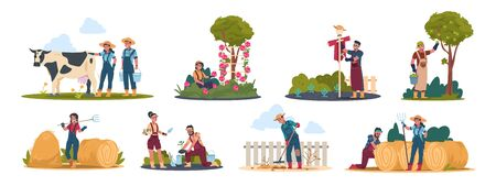 Agricultural workers. Harvesting people on field and in garden, cartoon characters doing farming job. Vector illustration farmers working with animal and organic products set
