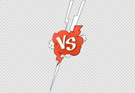Comic versus frame. Vs contest battle sports or matches clashing fight. Vector illustration flat confrontation on transparent background