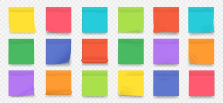 Sticky notes. Square colored blank notepad pages with crumpled edges isolated on transparent background. Vector collection wall sticker for text reminder post set