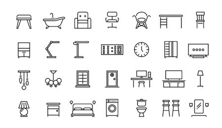Home furniture line icons. Office interior and home room chair lamp table symbols, bedroom kitchen an living room vector set. Interior design line symbols