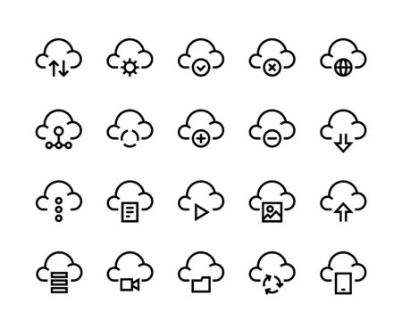 Cloud computing line icons. Internet service platform, network server and cloud data transfer access and synchronization. Vector image set network computation symbols