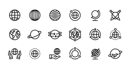 Globe line icons. World earth outline symbols for web interfaces, planet country map travel design template. Vector illustration stroke global travel set Иллюстрация