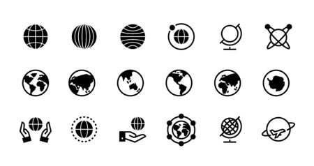Globe icons. Geography and destination line and black symbol for web interface, planet country and world map icons design. Vector flat travel pictogram set with geographical outline earth Иллюстрация