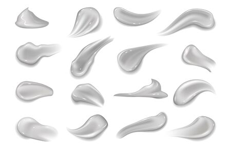 Gel smears. Realistic cosmetic texture hygienic cream for makeup. Vector illustration healthy creamy toothpaste blobs or moisturizer on white background