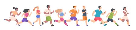 People marathon. Different men and women in color sports clothing running and jogging, healthy summer activity. Vector flat cartoon athlete persons doing exercises on white