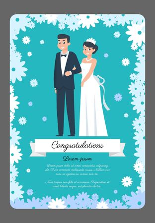 Groom and bride card. Cartoon wedding couple, invitation poster with happy characters. Vector illustration beauty wedding ceremony flat scene on blue background with flower frame