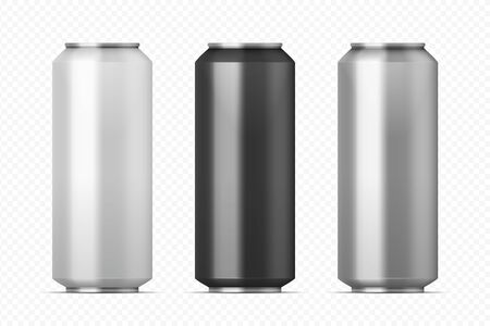 Realistic metal cans. Aluminum beer and lemonade beverage can of different colors. Vector illustration black silver white mock up cans set on transparent background for packaging energy drink