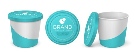 Yoghurt container. Realistic mockup blank and with company label, melted cheese margarine spread or butter vector package. White-blue plastic or carton round open containers with lid for dessert