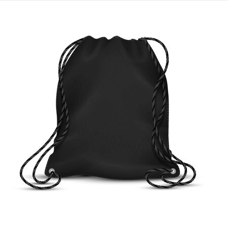 Realistic drawstring bag. Black sport backpack template with ropes, blank accessory rucksack. Vector isolated template polyester or nylon sport packs with string for school shoe Иллюстрация