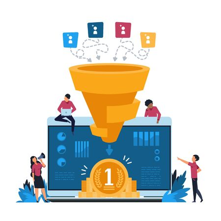 Funnel leads generation. Inbound marketing and attracting customers strategy, increasing conversion rate concept. Vector illustration vibrant creative concepts identify potential customer Иллюстрация