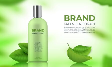 Realistic organic cosmetic background. Skin care green tea leaves product for beauty body women. Vector illustration eco treatment nature green leaves for skincare
