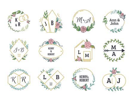 Wedding. Floral boho monograms and frames for wedding invitation cards with minimalistic elements. Vector illustration simple floral elegant decoration set for chic event