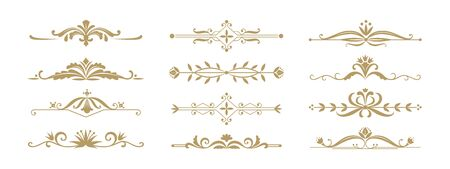 Floral ornamental divider. Vintage decorative elements for wedding invitation and greeting cards. Vector illustration design ornament jewelry dividers and borders for anniversary or celebration events