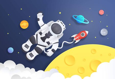 Paper cut space. Cartoon astronaut in cosmos with spaceship stars and planets, spaceman in galaxy. Vector art origami background with cosmonaut travelling to stratosphere in rocket