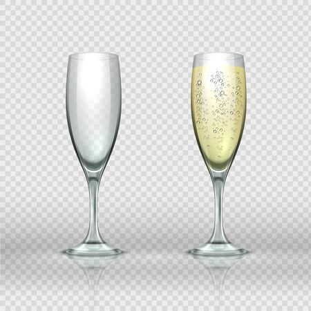 Realistic champagne glass. Empty and full transparent champagne wine glasses. Vector isolated realistic two 3D illustrations luxury clear cup sparkling wine with bubbles for love toasts
