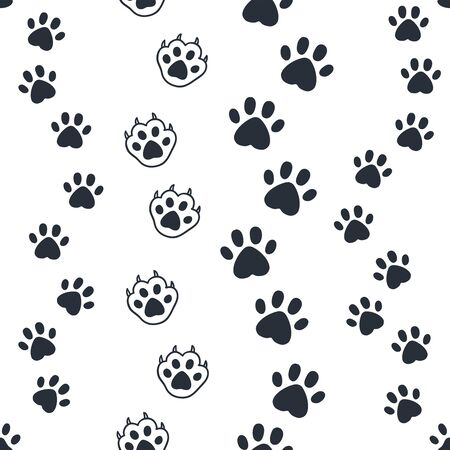 Cat paw pattern. Seamless dog foot print, wild animal and pat sunny paws silhouettes for background. Vector image out foots kitten and puppy cute wallpaper Иллюстрация