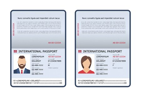 Open international passports. Id blank male and female document photo page. Vector travel and immigration template document for personalize citizenship