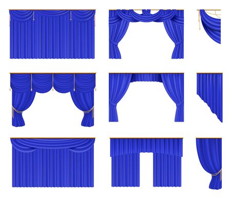 Blue curtains set. Realistic cinema and theater stage borders with curtaining. Vector illustration silk elegant drapery set design