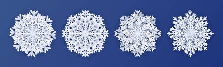 Paper cut snowflakes. 3d white decoration elements like layered decoration snow flake for christmas greeting and invitation cards . Vector isolated winter paper elements on dark blue background