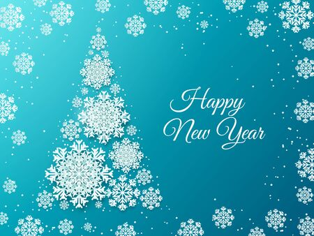 Snowflake Christmas tree. Paper cut decorative element for invitation and greeting cards. Vector Merry Christmas background made of white flakes for new year hanging decoration