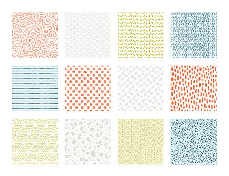 Hand drawn textures. Brush pen ink texture with abstract grunge elements, doodle scribble ethnic sketch. Vector waves and strokes art decoration pattern set on white background
