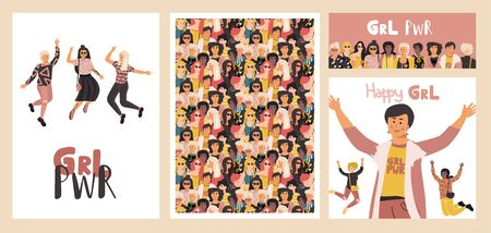 Diverse women poster. Group of happy girls, set of banners and flyers with beauty different international women. Vector concept funny dreams feminist background