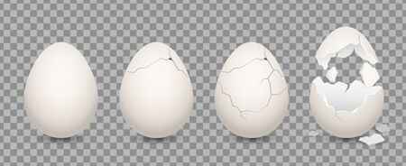 Cracked egg. Cartoon 3d realistic chicken broken eggs with cracks and smithers. Vector illustration culinary ingredient set on transparent background