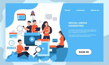 Marketing landing page. SEO and business analytic concept with cartoon characters, web page design template. Vector illustrations modern banner creative corporate agency