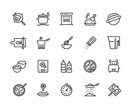 Cooking line icons. Pan pot kitchen utensils and cooking processes, boiling frying mixing and cutting. Vector simple pictogram food prepare set for recipes cookbook Иллюстрация