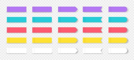 Sticky notes. Colored book and notebook marks isolated on transparent background. Vector rectangular notepad sheets stickers or label tag to reminder set on transparent background