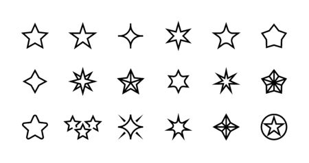 Stars line icons. Different types of decoration outline elements for elements and greeting cards. Vector isolated magic fantasy doodles star shapes set for shooting illustrations