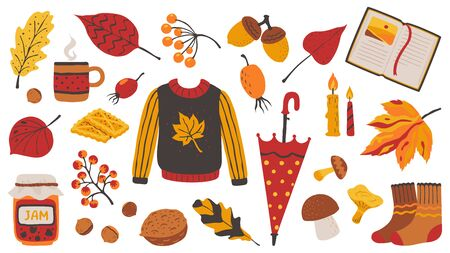 Autumn set. Cozy hand drawn decorative elements for poster greeting cards and invitations with knitting sweater tea candles book and jam. Vector set bright cozy seasons objects like nuts berries