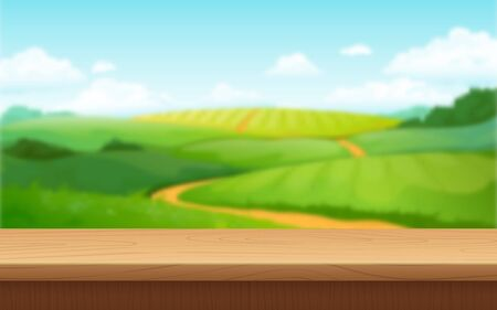 Blur landscape background. Wood surface table and summer field with clouds sky blurred background. Vector picture outdoors landscapes with fields and road to horizon Иллюстрация